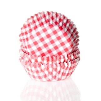 Cupcake papiertjes met rode ruitjes
