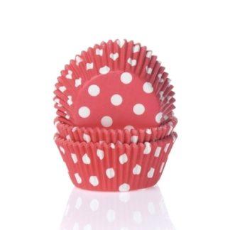 cupcake papiertjes rood met witte stippen