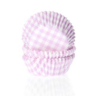 cupcake papiertjes met pastel roze ruitjes