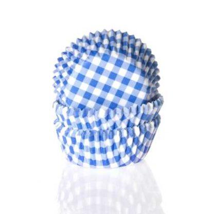 cupcake papiertjes blauw geruit