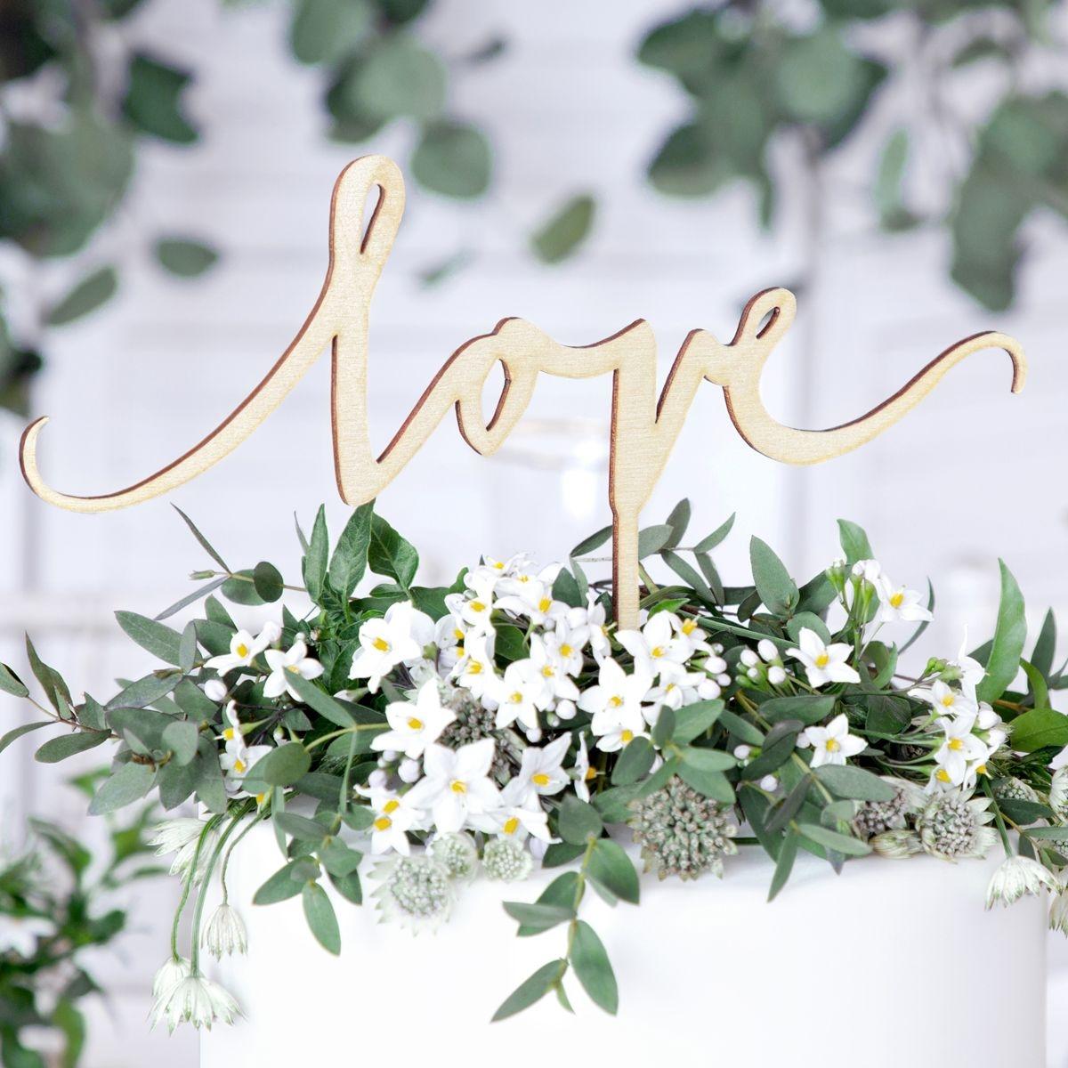 houten bruidstaart topper love