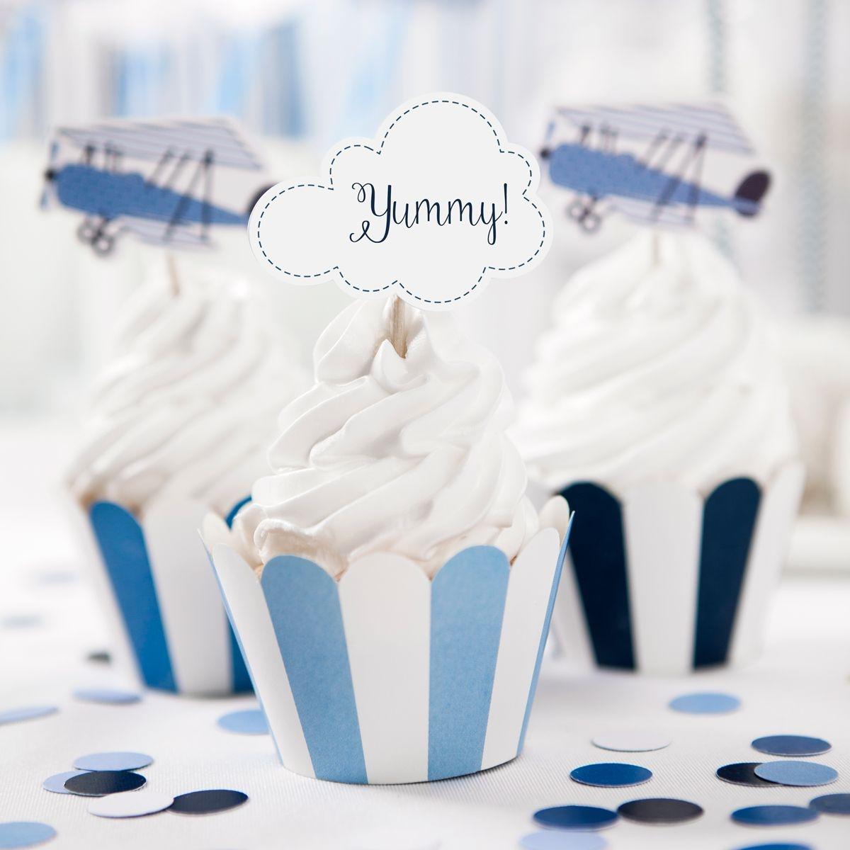 cupcake wikkels blauw wit