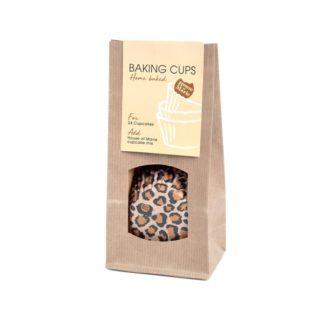 cupcake papiertjes met luipaard print bruin