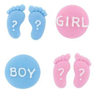 suikerfiguurtjes voor gender reveal traktatie roze en wit
