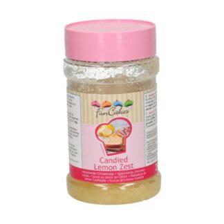 gesuikerde citroenrasp van Funcakes in pot van 250 gram