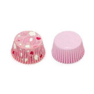 cupcake papiertjes roze olifantjes