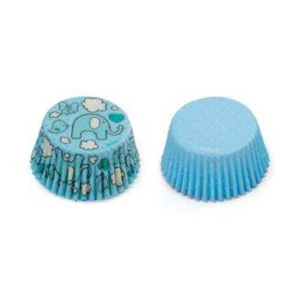 cupcakew papiertjes blauw olifant en stippen