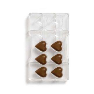 polycarbonaat vorm met 10 hartvormpjes voor bonbons