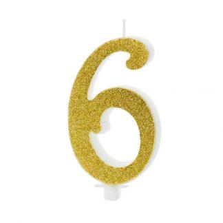 cijfer kaars nummer 6