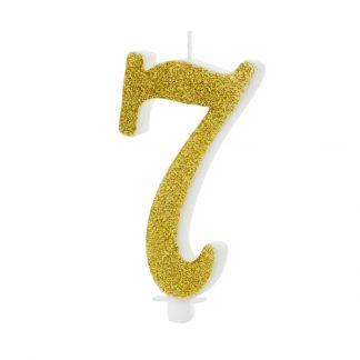 cijfer kaarsje nummer 7 goud