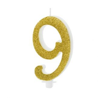 cijfer kaarsje nummer 9 goud
