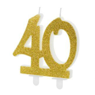 cijfer kaars nummer 40 goud