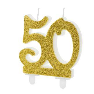 cijfer kaars nummer 50 goud