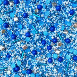 strooisel mix in blauw, wit en zilver