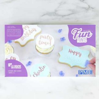 PME Fun Fonts cupcake en cookies stamping set 66 stuks