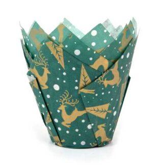 muffin tulp papiertjes groen met rendieren