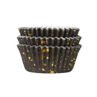 cupcake papiertjes zwart met goud